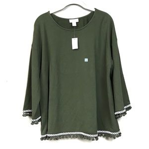 New with tags loft green pom-poms sweater